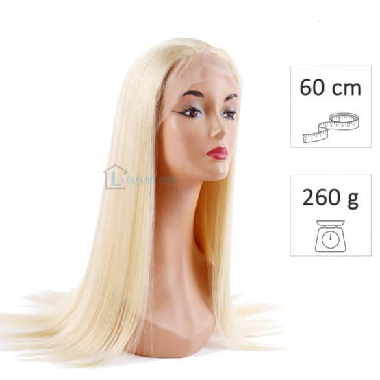 peluca pelo virgen platino 60cm 260g